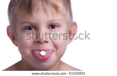 Little blonde girl taking drugs - stock photo