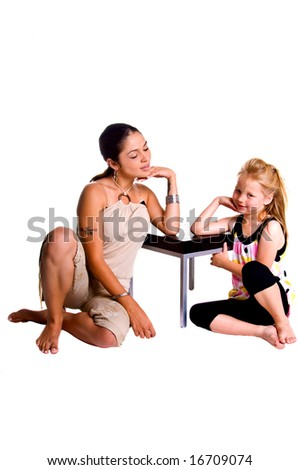 Little blonde haired girl sitting with her Mother, both bare foot Mom in tan shorts girl in black tights and a pastel polka dot top - stock photo