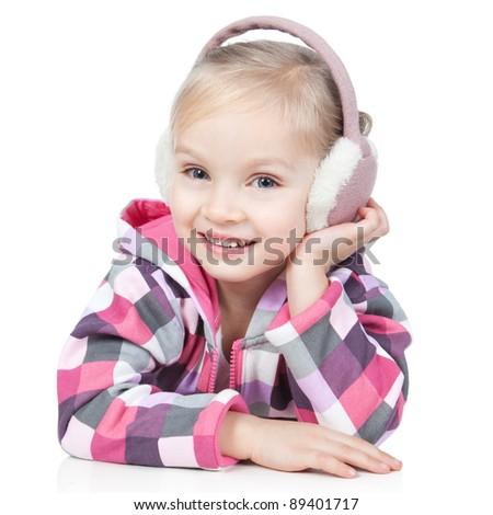 Little blonde smiling girl in winter headphones  posing in studio over white - stock photo