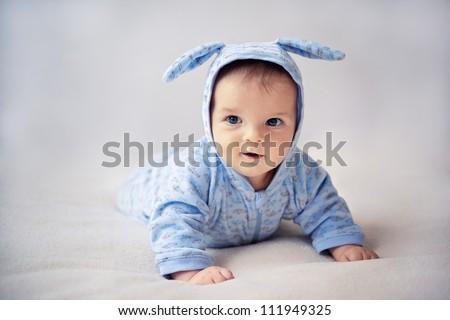 little blue bunny newborn baby - stock photo