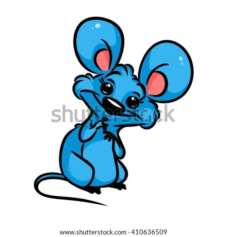 Little Blue Mouse amaze cartoon illustration