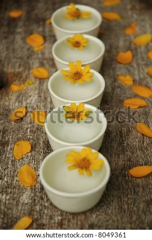 Little bowls of water and flowers, center focus - stock photo