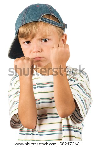 Little boxing  boy isolated on white background. Beautiful caucasian model. - stock photo