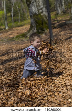 Little boy and autumn leaves. - stock photo