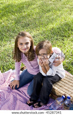 Little boy and big sister sitting on picnic blanket in park - stock photo