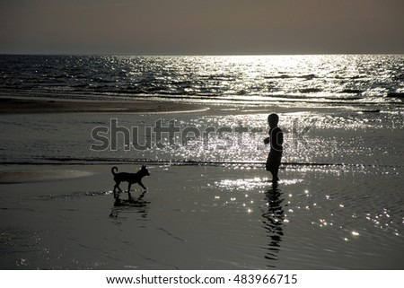 Little boy and dog standing in the sea during sunset