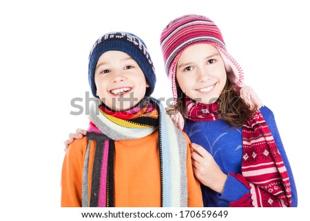 Little boy and girl hugging isolated on white