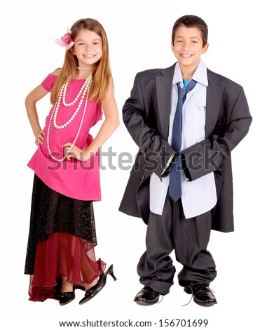 little boy and girl isolated in white pretending to be adults - stock photo