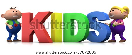 little boy and girl with big 3d KIDS letters - 3d rendering/illustration - stock photo