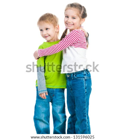 little boy and his cute sister isolated on white
