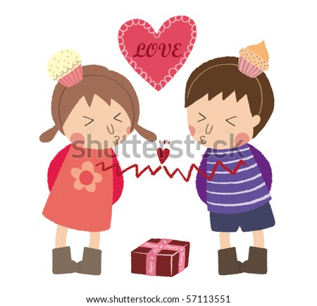 Little boy and little girl are kissing and fall in love. - stock photo