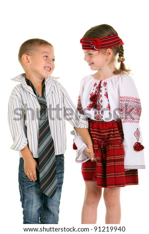 Little boy and little girl on the white background