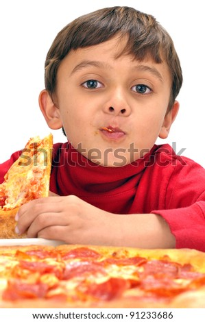 LIttle boy and pizza