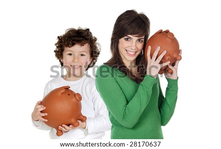 Little boy and pretty teen with moneybox isolated over white - stock photo