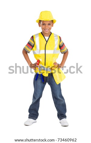 little boy as construction worker - stock photo