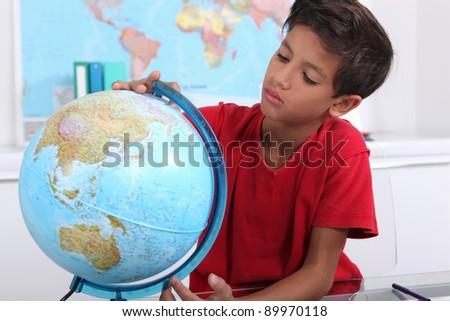 little boy at school - stock photo