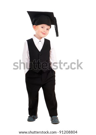 Little boy Bachelor isolated over white background