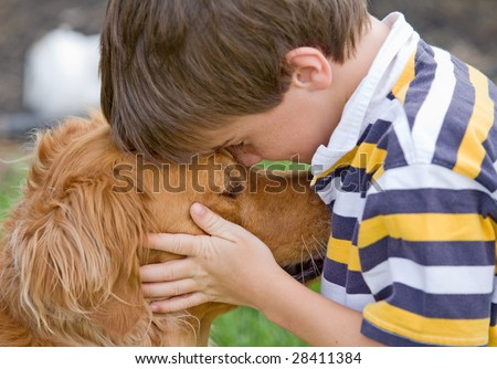 Little Boy Being Affectionate - stock photo