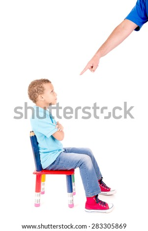 little boy being punnished isolated in white - stock photo