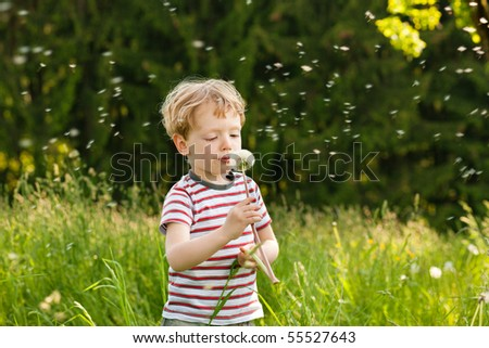 Little boy blowing dandelion seed for a whish on a meadow outdoors in summer - stock photo