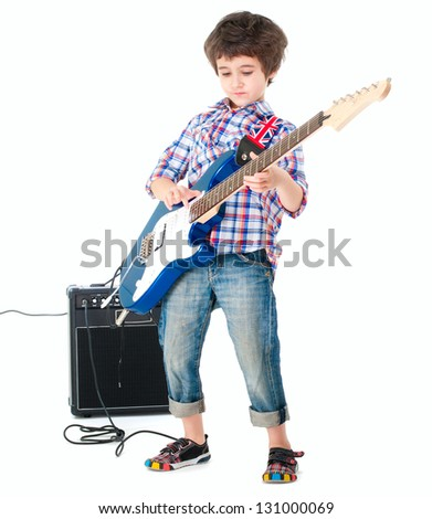 Little boy britpop style with electoguitar and guitar combo full body isolated on white