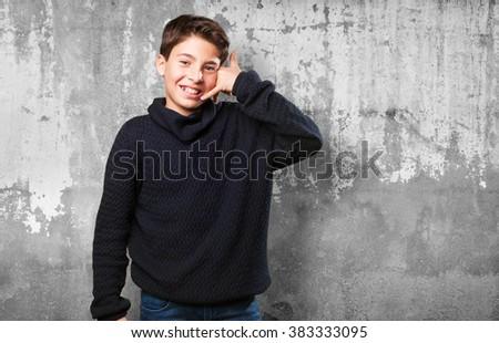 little boy calling gesture - stock photo