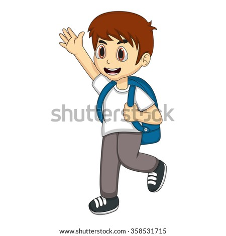 Little boy carrying a backpack and waving his hand  - stock photo