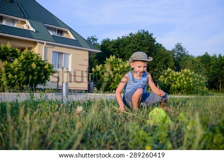 Little boy catching insects with a net crouching down in the green grass outside the house with a look of anticipation on his face - stock photo