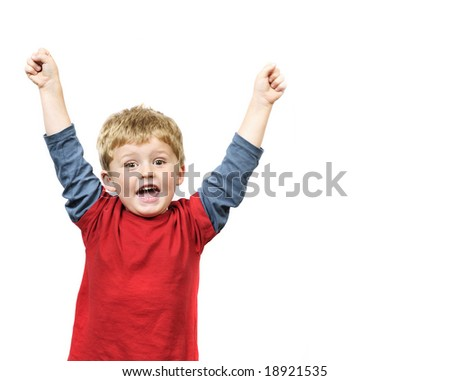 Little boy celebrates. - stock photo