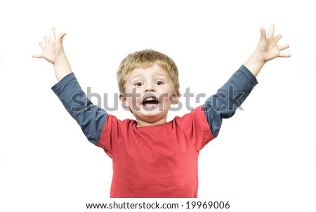 little boy celebrates