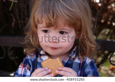 Little boy child eating biscuit outdoors in sunny summer day closeup
