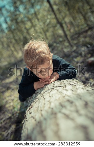 Little boy child lying on a chopped tree exploring the nature - stock photo