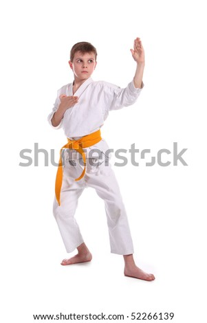 Little boy (child) practice karate isolated on white background