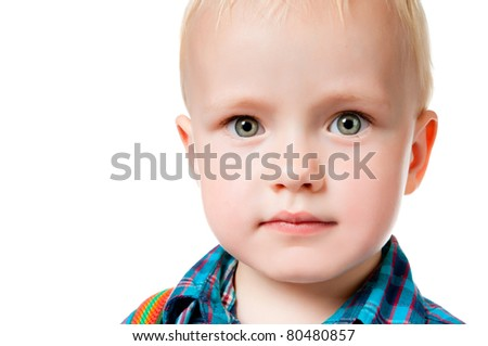 little boy close up on white background - stock photo
