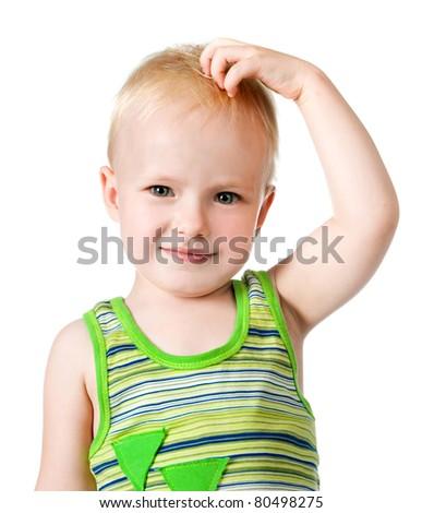 little boy close up on white background - stock photo