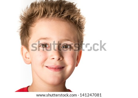 Little boy close up portrait - isolated on white background  - stock photo