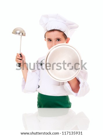 Little boy cook threaten with kitchen utensil isolated on white - stock photo