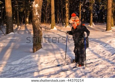 Little Boy Cross Country Skiing - stock photo