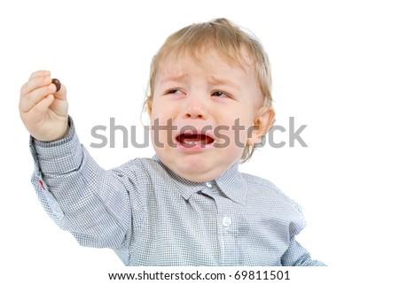 Little boy crying - stock photo