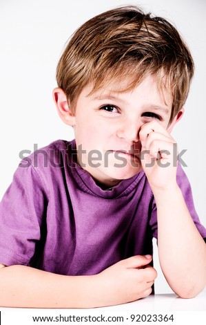 little boy crying in a studio for cutout