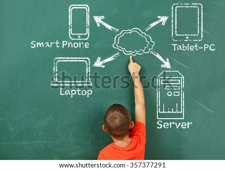 Little boy drawing cloud network on the chalkboard - stock photo