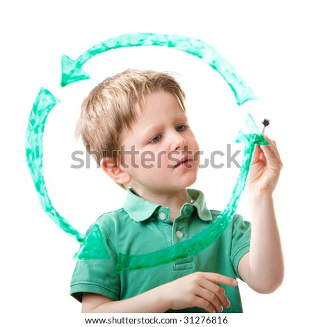 Little boy drawing recycling symbol on glass. Isolated on white. - stock photo
