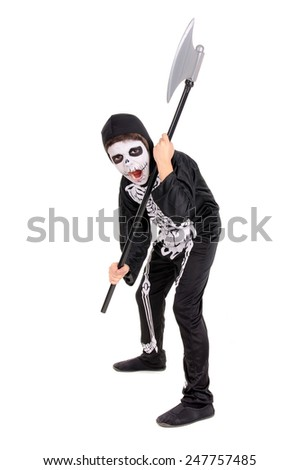 little boy dressed as a skeleton on halloween isolated - stock photo