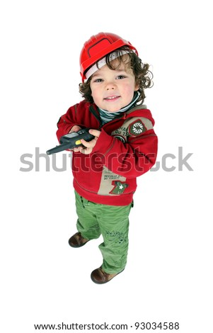 Little boy dressed as builder - stock photo
