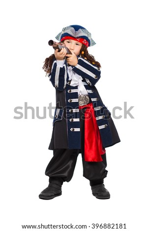 Little boy dressed as pirate posing with a gun. Isolated on white - stock photo
