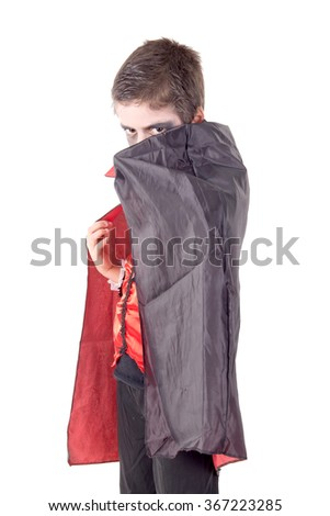 little boy dressed up for halloween isolated in white - stock photo