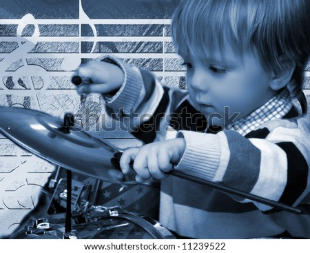 Little Boy Drumming, , Blue-duo-toned - stock photo