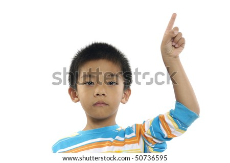 Little boy eager to answer a question, finger raised