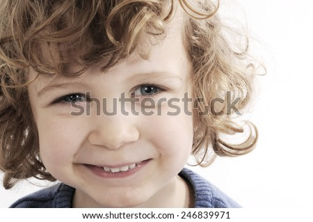 little boy face with expression - stock photo