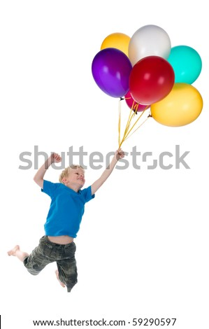 Little boy flying behind a bunch of balloons, isolated on a white background. - stock photo